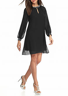 SL Fashions Pearl Embellished Shift Dress