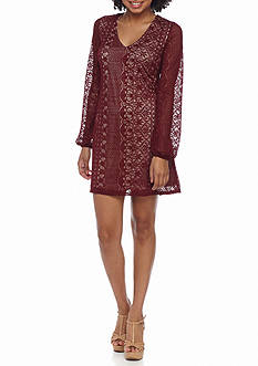 Speechless Long Sleeve Lace Shift Dress