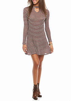 Speechless Mock Neck Keyhole Stripe Dress
