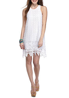 Speechless White Tank Crochet Scallop Edge Dress