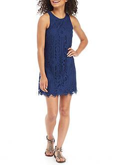 Speechless Sleeveless Lace Shift Dress