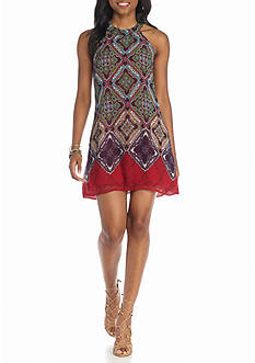 Speechless High Neck Border Shift Dress