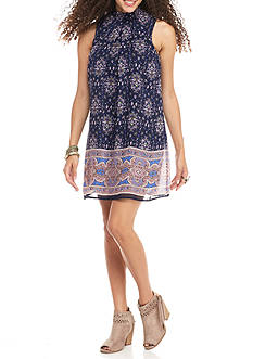 Speechless Smock Neck Printed Swing Dress