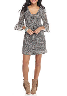 Speechless Lace up Bell Sleeve Printed Dress