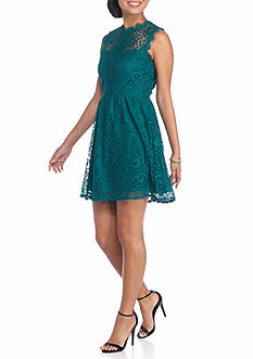 Speechless Sleeveless Lace Skater Dress