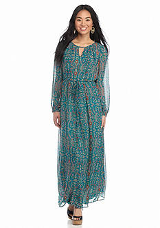 Speechless Printed Blouson Maxi Dress
