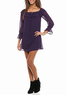 Speechless Lace-Up Bell Sleeve Dress