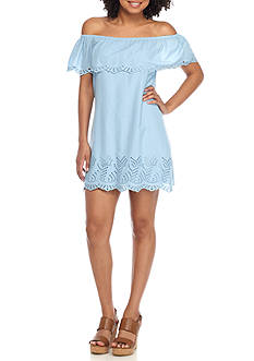 Speechless Chambray Off-the-Shoulder Embroidered Dress