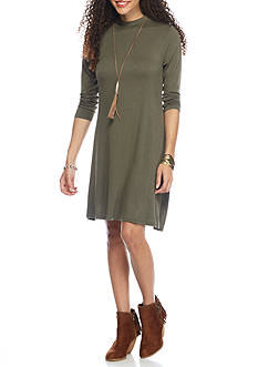 Almost Famous Solid Swing Dress With Necklace