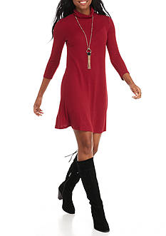 Almost Famous Mock Neck Dress With Necklace