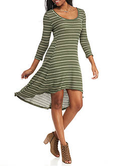 Almost Famous Hi-Lo Stripe Knit Dress