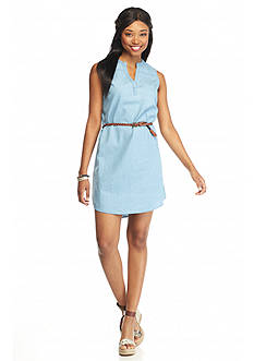 Almost Famous Denim Belted Dress