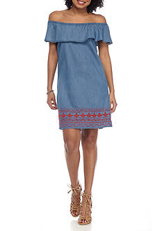 Almost Famous Embroidered Ruffle Trim Dress
