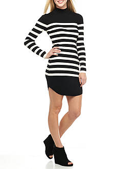 Almost Famous Mock Neck Stripe Sweater Dress