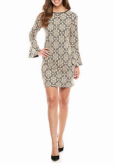 Tiana B Bell-Sleeve Printed Shift Dress