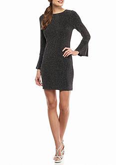 Tiana B Bell-Sleeve Sparkle Shift Dress