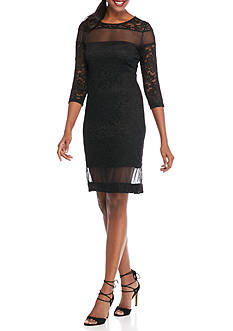 Tiana B Lace Sheath Dress with Illusion Mesh Insets