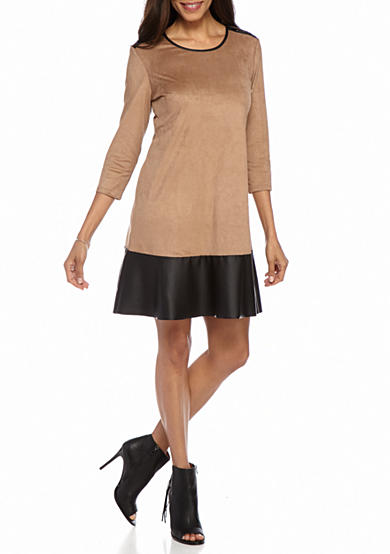 Tiana B Faue Suede Shift Dress with Faux Leather Trim