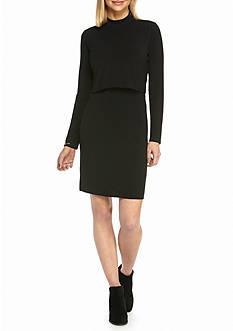 Tiana B Mock Neck Popover Dress