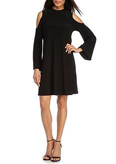 Tiana B Cold-Shoulder Jersey Trapeze Dress
