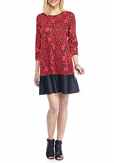 Tiana B Textured Knit Shift Dress with Faux Leather Trim