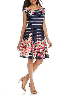 Tiana B Floral Stripe Scuba Fit and Flare Dress
