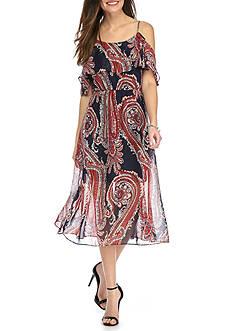 Tiana B Cold-Shoulder Paisley Printed Dress