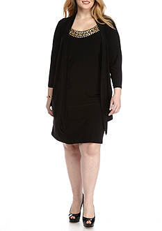 Tiana B Plus Size Jersey Mock Jacket Dress