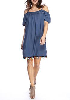 Tiana B Chambray Tassel Hem Cold Shoulder Dress