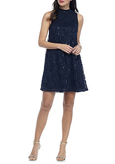 Tiana B Lace and Sequin Trapeze Dress