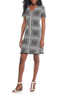 Tiana B Grid Pattern Pom-Pom Shift Dress