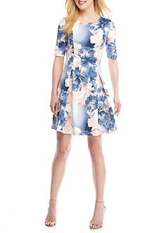 Tiana B Floral Scuba Fit And Flare Dress