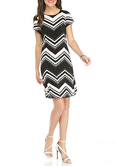 Tiana B Chevron Shift Dress