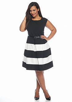 Tiana B Plus Size Striped Fit and Flare Dress