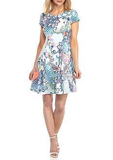 Tiana B Printed Fit-and-Flare Scuba Dress