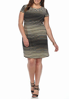 Tiana B Plus Size Striped Shift Dress