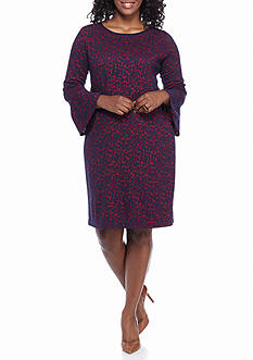 Tiana B Plus Size Bell-Sleeve Printed Shift Dress