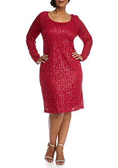 Tiana B Plus Size Lace and Sequin Shift Dress