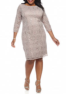 Tiana B Plus Size Lace and Sequin Sheath Dress