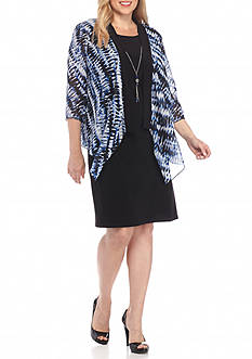Tiana B Plus Size Flyaway Printed Jacket Dress with Necklace