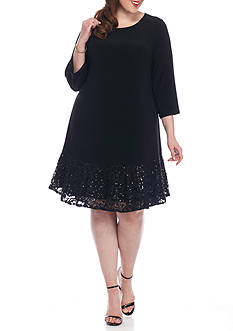 Tiana B Plus Size Lace and Sequin Hem Shift Dress