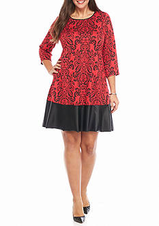 Tiana B Plus Size Textured Knit Shift Dress with Faux Leather Trim