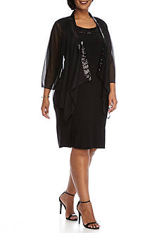 Tiana B Plus Size Sequin Trim Flyaway Jacket Dress