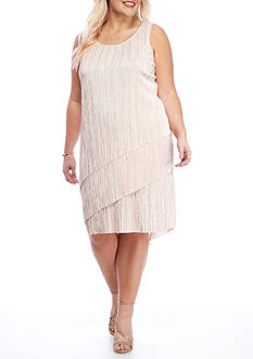 Tiana B Plus Size Metallic Tiered Dress