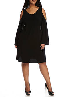 Tiana B Plus Size Cold-Shoulder Jersey Trapeze Dress