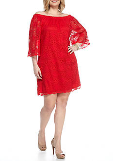 Tiana B Plus Size Off the Shoulder Lace Shift Dress