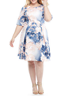 Tiana B Plus Size Floral Fit and Flare Dress