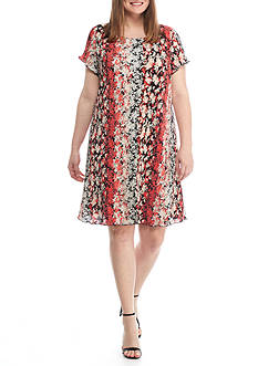 Tiana B Plus Size Ditsy Printed Shift Dress