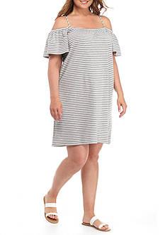 MIK Plus Size Cold Shoulder Stripe Shift Dress