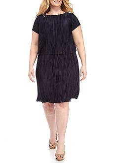 Tiana B Plus Size Popover Pleated Dress